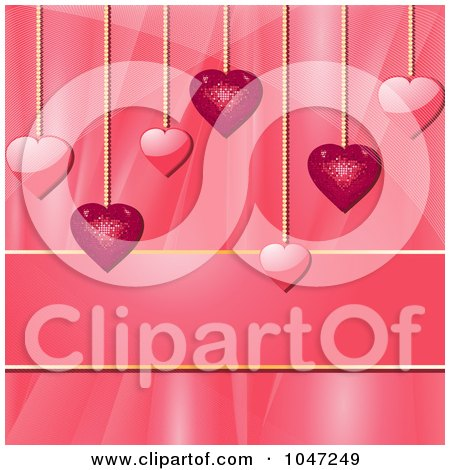 Royalty-Free (RF) Clip Art Illustration of Pink Heart Pendants Over A Silk Background With Copyspace by elaineitalia