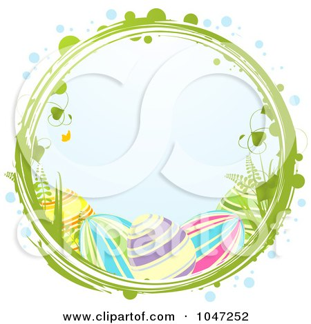 Royalty-Free (RF) Clip Art Illustration of Easter Eggs In A Grungy Vine Circle by elaineitalia