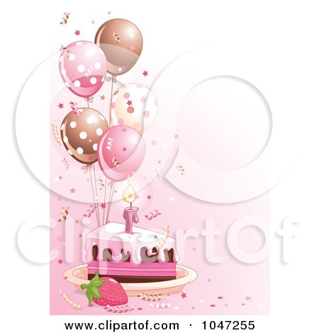 Royalty-free clipart picture of a slice of birthday cake with pink frosting