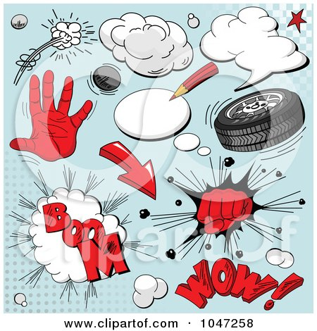 Royalty-Free (RF) Clip Art Illustration of a Digital Collage Of Red Comic Sounds And Icons Over Blue by Pushkin