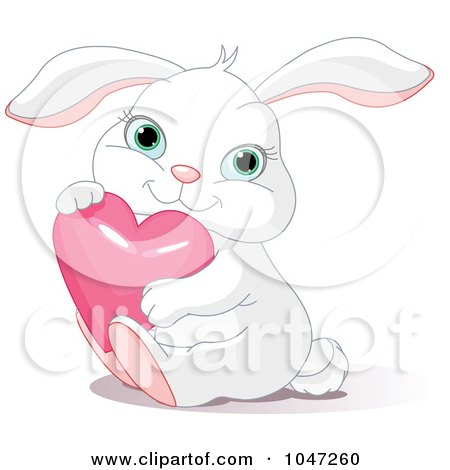 Royalty-Free (RF) Clip Art Illustration of a Cute Bunny Hugging A Pink Heart by Pushkin