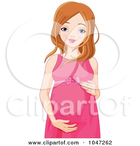 Royalty-Free (RF) Clip Art Illustration of a Young Pregnant Woman by Pushkin
