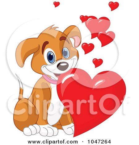 Royalty-Free (RF) Clip Art Illustration of a Cute Puppy Dog With Valentine Hearts by Pushkin