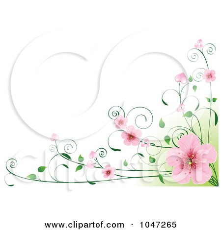 Royalty-Free (RF) Clip Art Illustration of a Border Of Pink Cherry Blossoms On A Vine Over Green And White by Pushkin