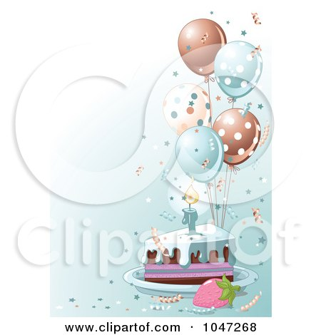 Royalty-free clipart picture of a slice of birthday cake with blue frosting
