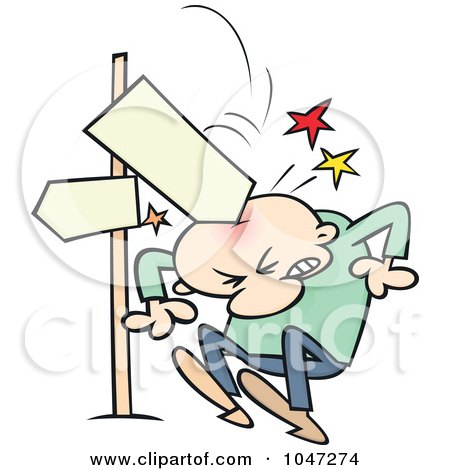 Royalty-Free (RF) Clip Art Illustration of a Directional Sign Crashing Down On A Toon Guy by gnurf