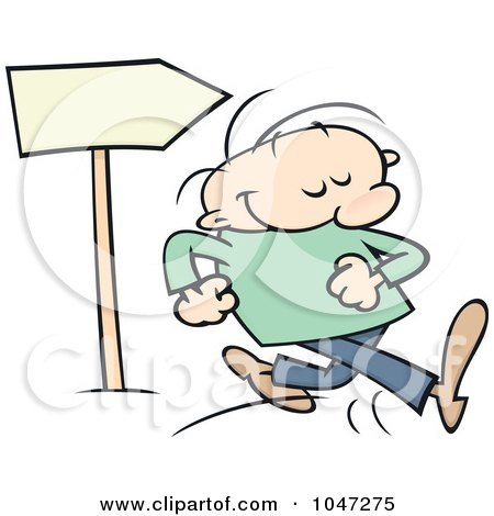Royalty-Free (RF) Clip Art Illustration of a Toon Guy Proudly Walking Past A Sign by gnurf