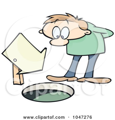 Royalty-Free (RF) Clip Art Illustration of a Toon Guy Looking Down A Manhole By A Sign by gnurf