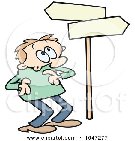 Royalty-Free (RF) Clip Art Illustration of a Toon Guy Looking Up At Directional Signs by gnurf