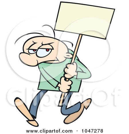 Royalty-Free (RF) Clip Art Illustration of a Toon Guy Doing A Sign Demonstration by gnurf