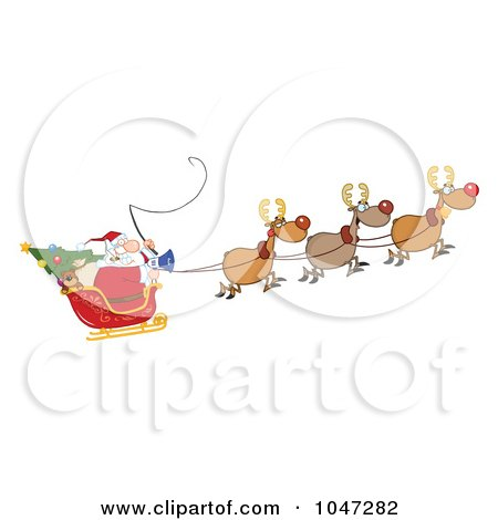 Royalty-Free (RF) Clip Art Illustration of Santa In Flight With His Reindeer And Sleigh by Hit Toon