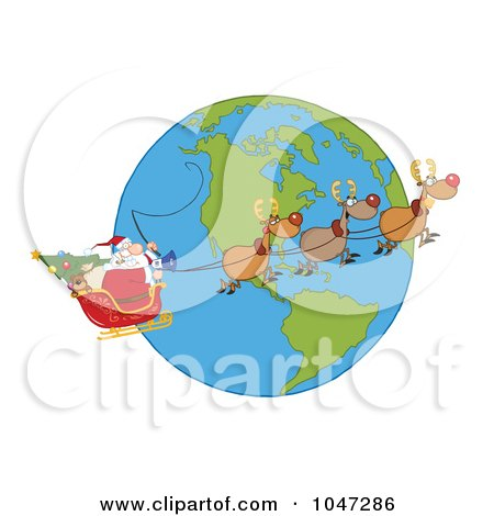 Santa In Flight With His Reindeer And Sleigh Over A Globe