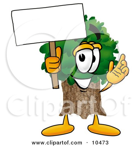 Tree Mascot Cartoon Character Holding a Blank Sign Posters, Art Prints