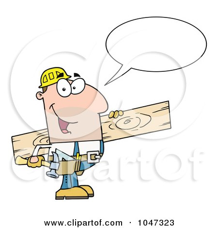 Royalty-Free (RF) Clip Art Illustration of a Friendly Carpenter Carrying Wood And Talking by Hit Toon
