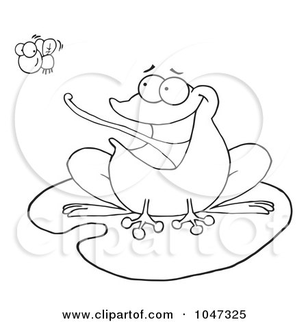 Royalty-Free (RF) Clip Art Illustration of an Outlined Frog On A Lilypad, Catching A Fly by Hit Toon