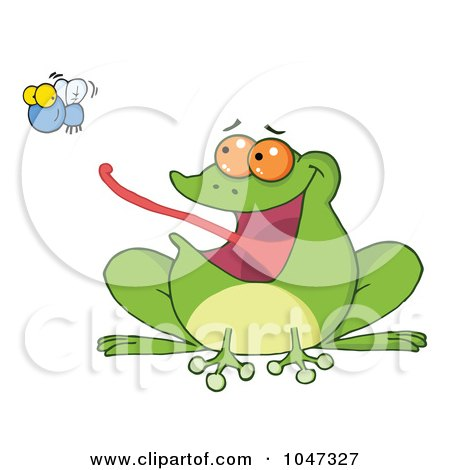 Royalty-Free (RF) Clip Art Illustration of a Frog Catching A Fly by Hit Toon