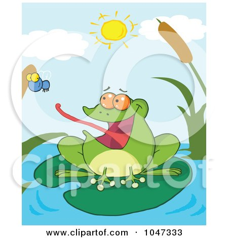 Royalty-Free (RF) Clip Art Illustration of a Frog Catching A Fly On A Pond by Hit Toon