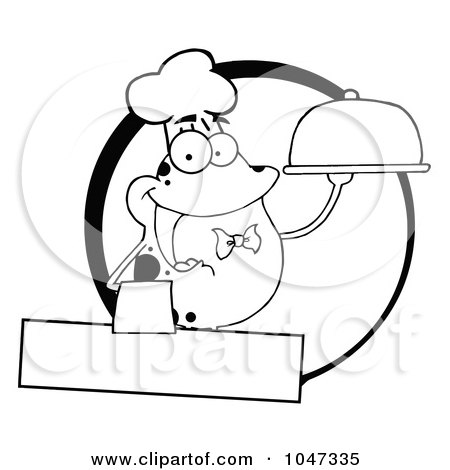 Royalty-Free (RF) Clip Art Illustration of an Outlined Frog Waiter Logo With Copyspace by Hit Toon