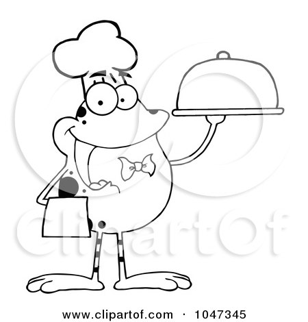 Royalty-Free (RF) Clip Art Illustration of an Outline Of A Waiter Frog Holding A Platter by Hit Toon