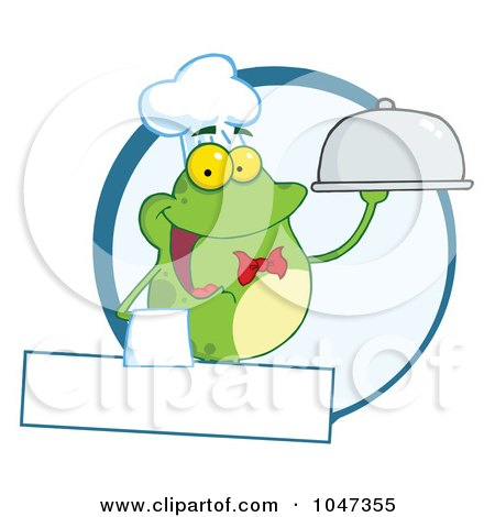Royalty-Free (RF) Clip Art Illustration of a Frog Waiter Logo With Copyspace by Hit Toon