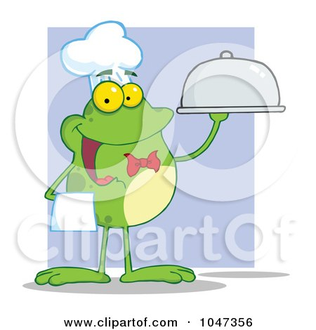 Royalty-Free (RF) Clip Art Illustration of a Waiter Frog Holding A Platter Over Purple by Hit Toon