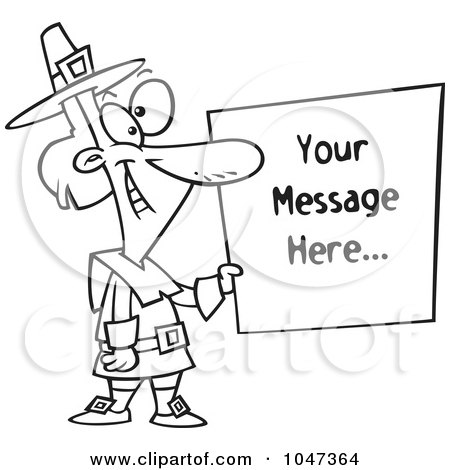 Royalty-Free (RF) Clip Art Illustration of a Cartoon Black And White Outline Design Of A Pilgrim Holding A Blank Sign by toonaday