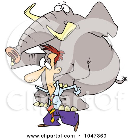 Royalty-Free (RF) Clip Art Illustration of a Cartoon Businessman Giving An Elephant A Piggy Back Ride by toonaday