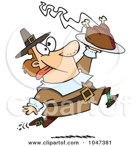 Royalty-Free (RF) Clip Art Illustration of a Cartoon Goofy Pilgrim Carrying A Hot Turkey by toonaday