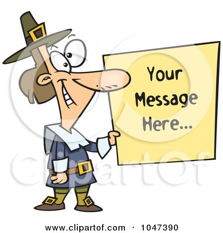 Royalty-Free (RF) Clip Art Illustration of a Cartoon Pilgrim Holding A Blank Sign by toonaday