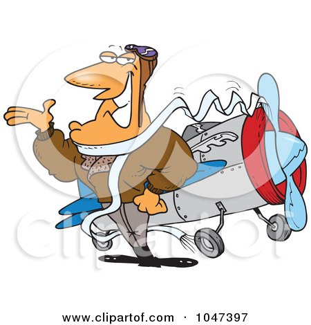 Royalty-Free (RF) Clip Art Illustration of a Cartoon Handsome Pilot by toonaday