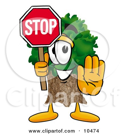 Clipart Picture of a Tree Mascot Cartoon Character Holding a Stop Sign by Toons4Biz