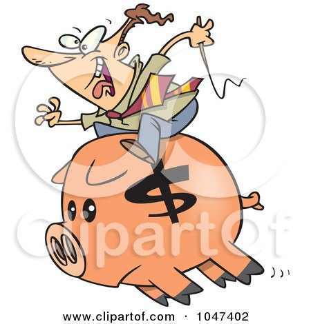 Royalty-Free (RF) Clip Art Illustration of a Cartoon Businessman Riding A Piggy Bank by toonaday