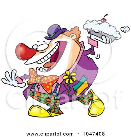 Royalty-Free (RF) Clip Art Illustration of a Cartoon Clown Throwing A Pie by toonaday