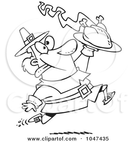 Royalty-Free (RF) Clip Art Illustration of a Cartoon Black And White Outline Design Of A Goofy Pilgrim Carrying A Hot Turkey by toonaday