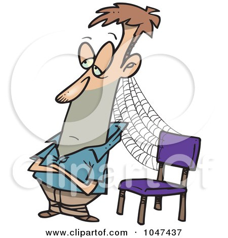 Royalty-Free (RF) Clip Art Illustration of a Cartoon Patient Man With Cobwebs By A Chair by toonaday