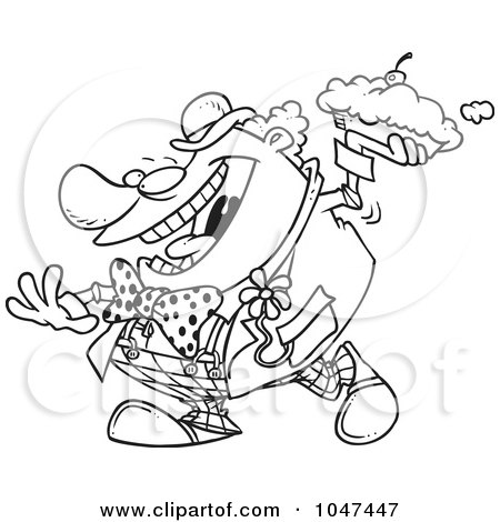Royalty-Free (RF) Clip Art Illustration of a Cartoon Black And White Outline Design Of A Clown Throwing A Pie by toonaday