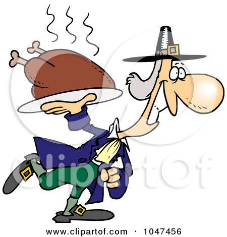 Royalty-Free (RF) Clip Art Illustration of a Cartoon Pilgrim Carrying A Hot Turkey by toonaday