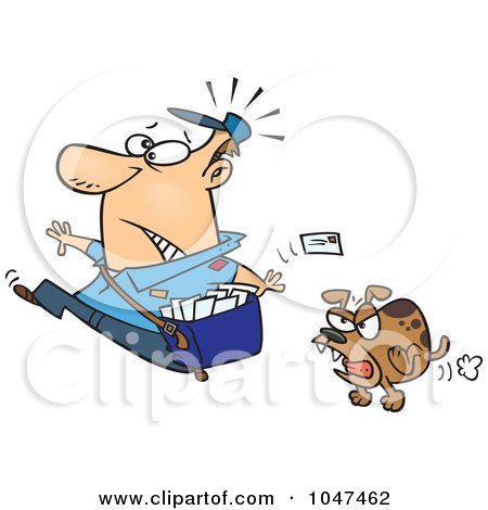 Royalty-Free (RF) Clip Art Illustration of a Cartoon Mail Man Running From A Dog by toonaday