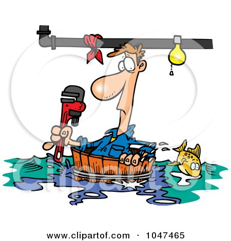 Cartoon Plumber Floating In A Barrel Posters, Art Prints