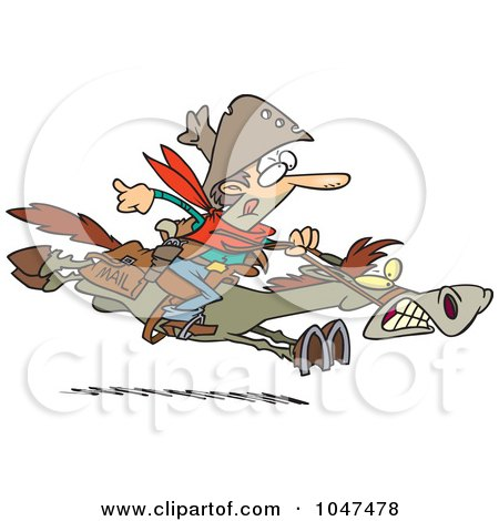 Royalty-Free (RF) Clip Art Illustration of a Cartoon Express Mail Cowboy On A Horse by toonaday