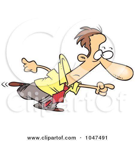Royalty-Free (RF) Clip Art Illustration of a Cartoon Businessman Pointing by toonaday