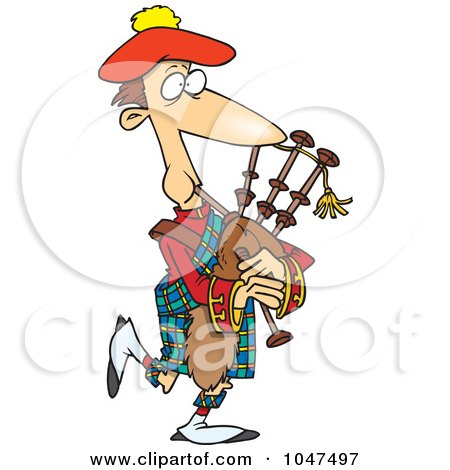 Royalty-Free (RF) Clip Art Illustration of a Cartoon Man Playing Bag Pipes by toonaday