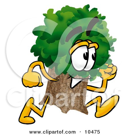 Clipart Picture of a Tree Mascot Cartoon Character Running by Toons4Biz