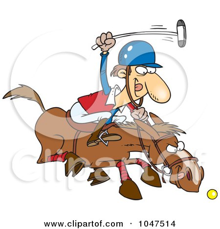 Royalty-Free (RF) Clip Art Illustration of a Cartoon Polo Player by toonaday