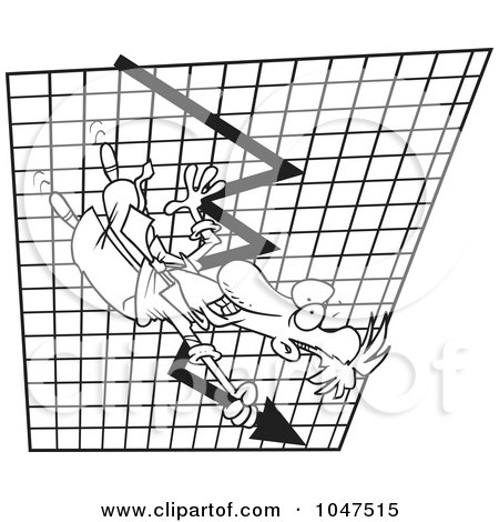 Royalty-Free (RF) Clip Art Illustration of a Cartoon Black And White Outline Design Of A Businessman Going Down On A Plummeting Graph by toonaday