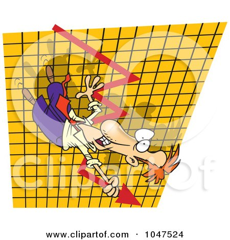 Royalty-Free (RF) Clip Art Illustration of a Cartoon Businessman Going Down On A Plummeting Graph by toonaday