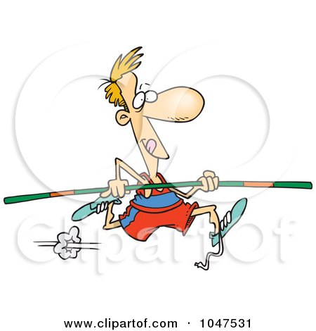 Royalty-Free (RF) Clip Art Illustration of a Cartoon Pole Vaulter by toonaday