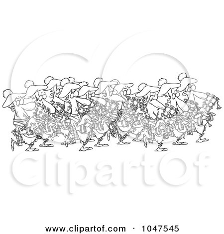 Royalty-Free (RF) Clip Art Illustration of a Cartoon Black And White Outline Design Of A Group Of Pipers by toonaday