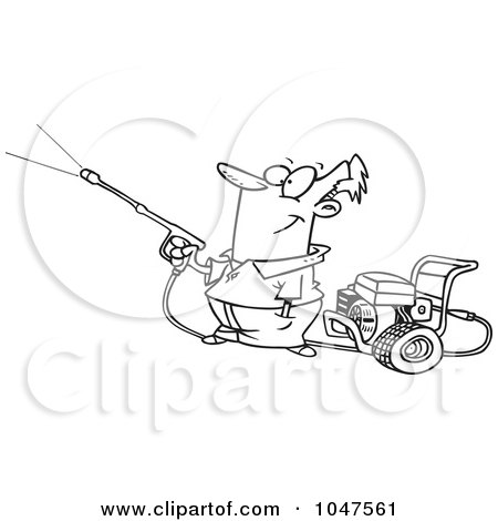 Royalty-Free (RF) Clip Art Illustration of a Cartoon Black And White Outline Design Of A Guy Using A Pressure Washer by toonaday