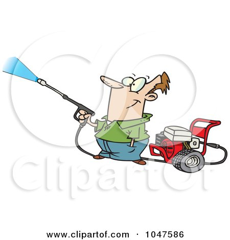 Royalty-Free (RF) Clip Art Illustration of a Cartoon Guy Using A Pressure Washer by toonaday